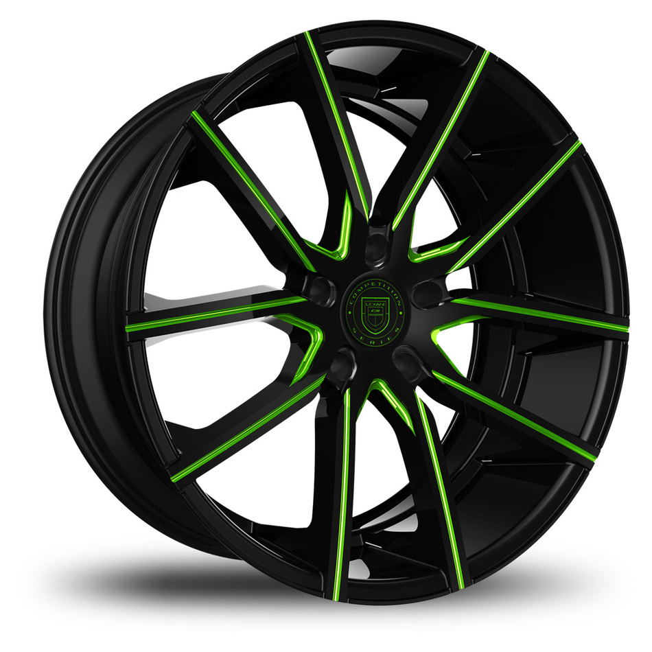Lexani Gravity Black and Green Finish Wheels