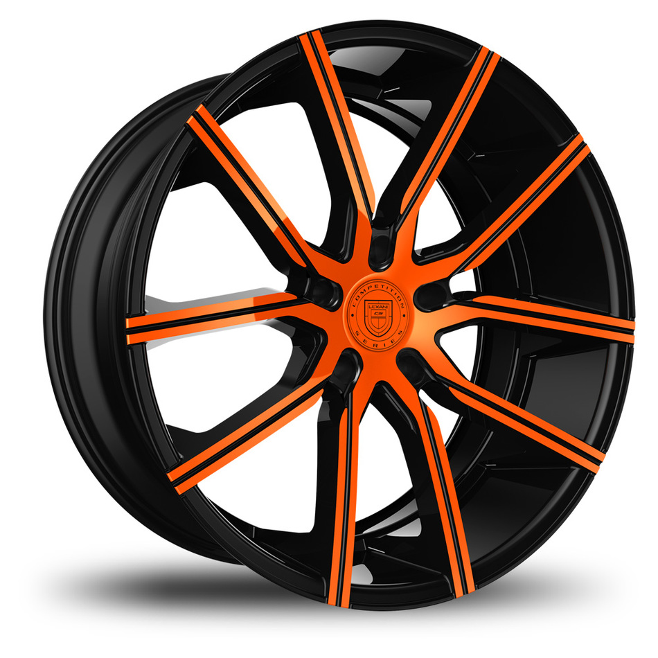 Lexani Gravity Black and Orange Finish Wheels