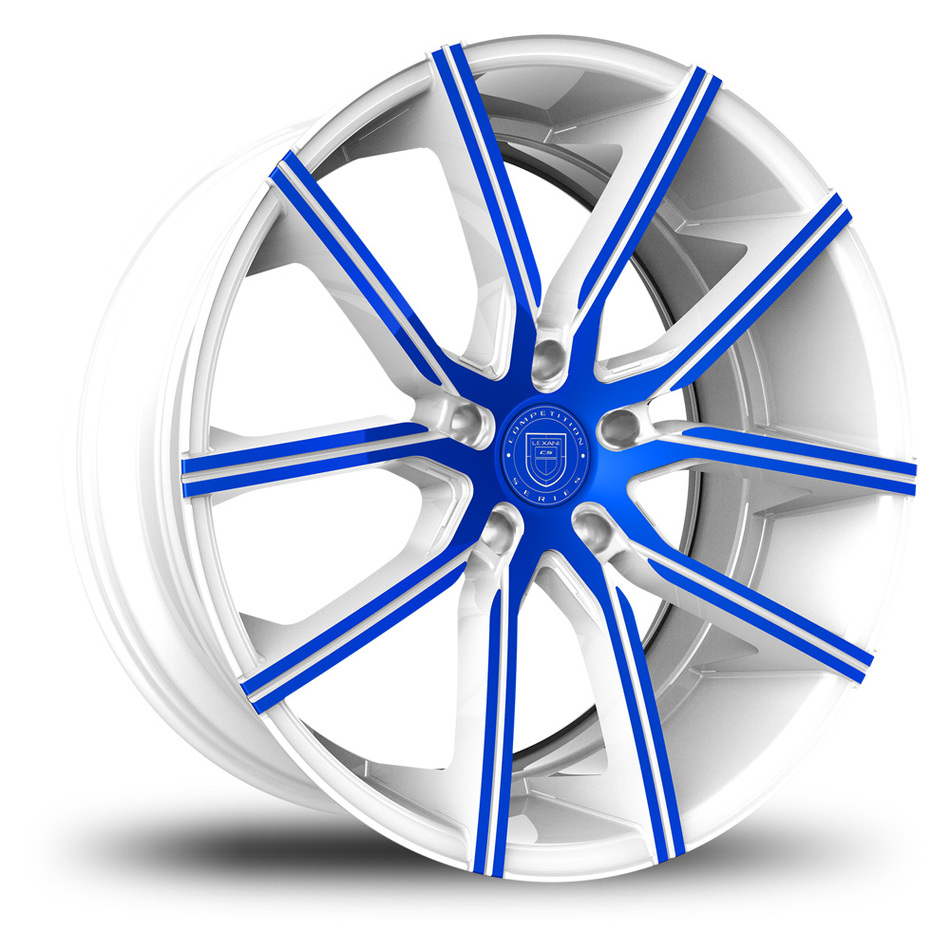 Lexani Gravity White and Blue Finish Wheels