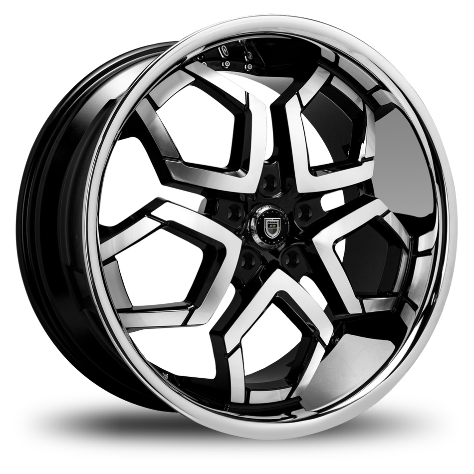 Lexani Hydra Gloss Black with Machined Face and Stainless Steel Lip Wheels