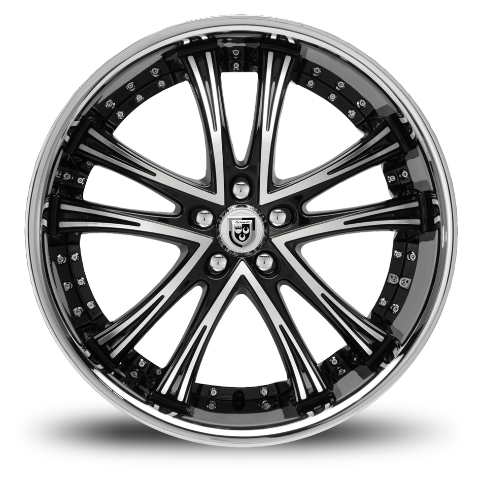 Lexani LSS-55 Gloss Black and Machined Face SS Lip Wheels