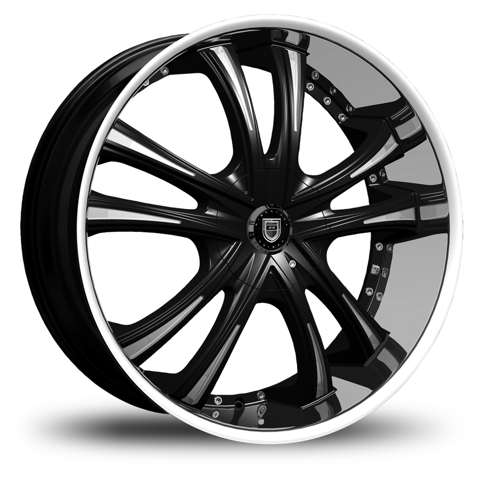 Lexani LSS-55 Gloss Black and Machined Accents Stainless Steel Lip Wheels