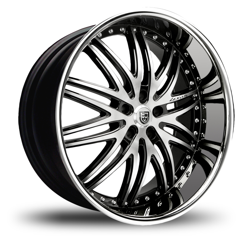 Lexani LX-10 Gloss Black and Machined Face with Stainless Steel Lip Wheels