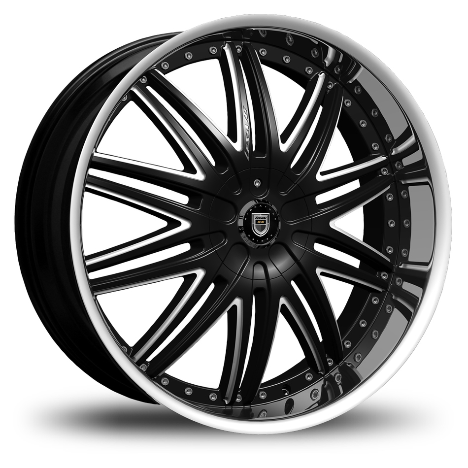 Lexani LX-10 Gloss Black and Machined Accents with Stainless Steel Lip Wheels