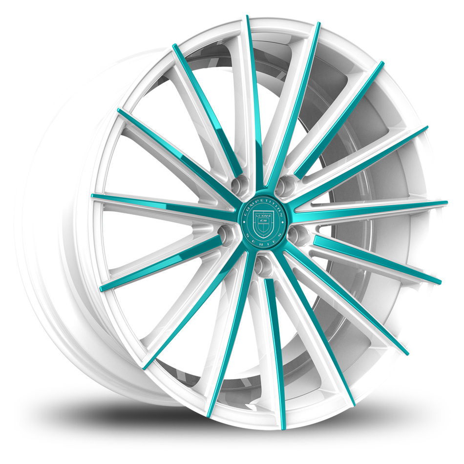 Lexani Pegasus Custom White and Teal Finish Wheels