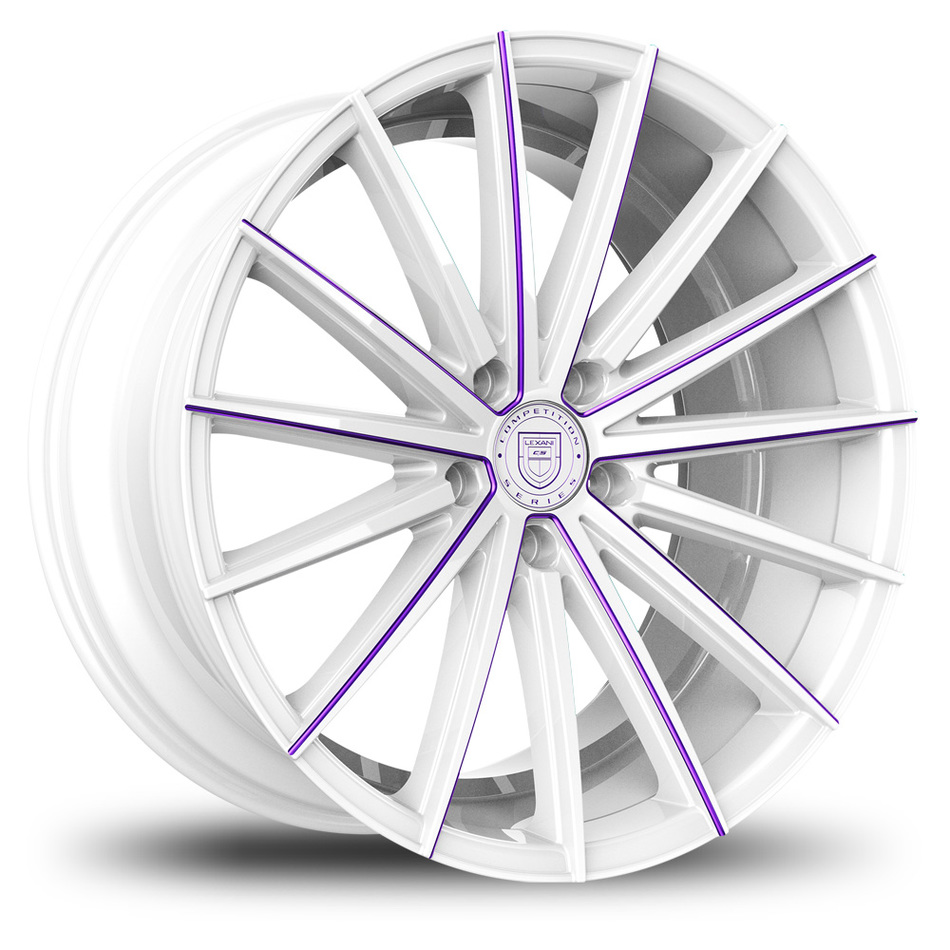Lexani Pegasus Custom White and Purple Finish Wheels