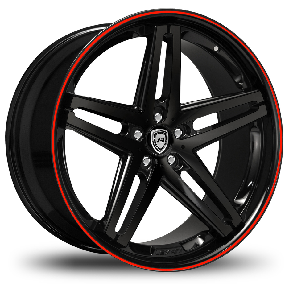 Lexani R-Five Gloss Black with Red Pinstripe Wheels