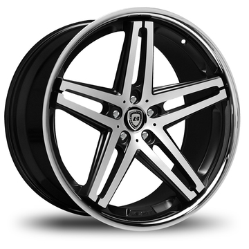 Lexani R-Five Gloss Black and Machined Face Stainless Steel Lip Wheels