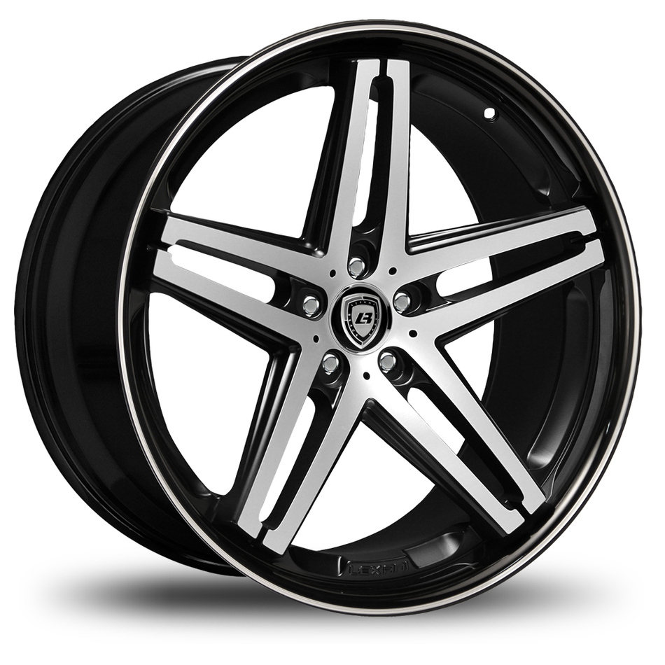 Lexani R-Five Gloss Black and Machined Face Black Lip Wheels