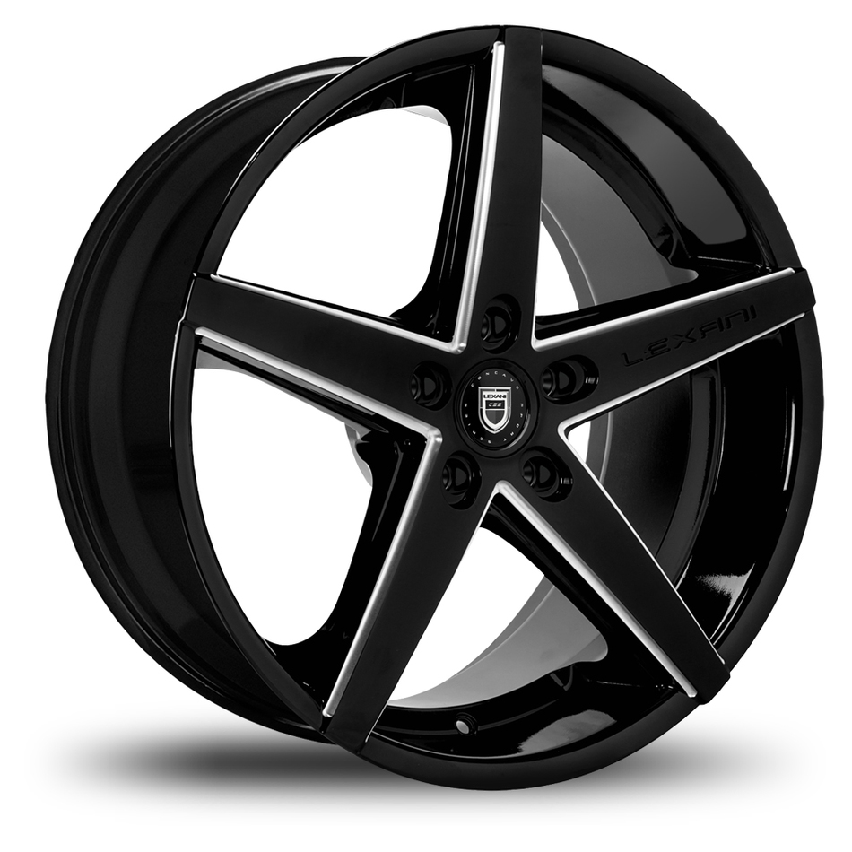 Lexani R-Four Gloss Black and Machined Accents Exposed Lugs Wheels
