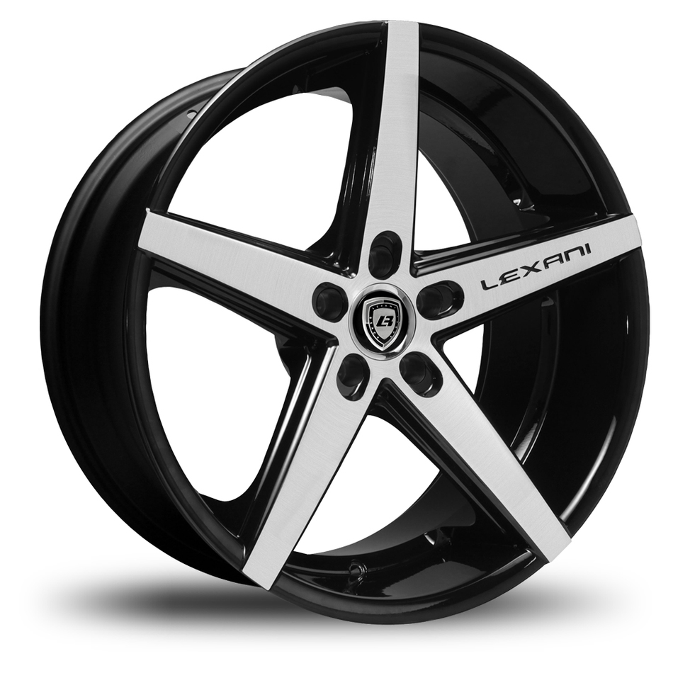 Lexani R-Four Gloss Black and Machined Face Exposed Lugs Wheels