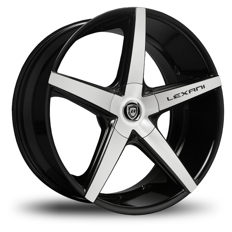 Lexani R-Four Gloss Black and Machined Face Covered Lugs Wheels