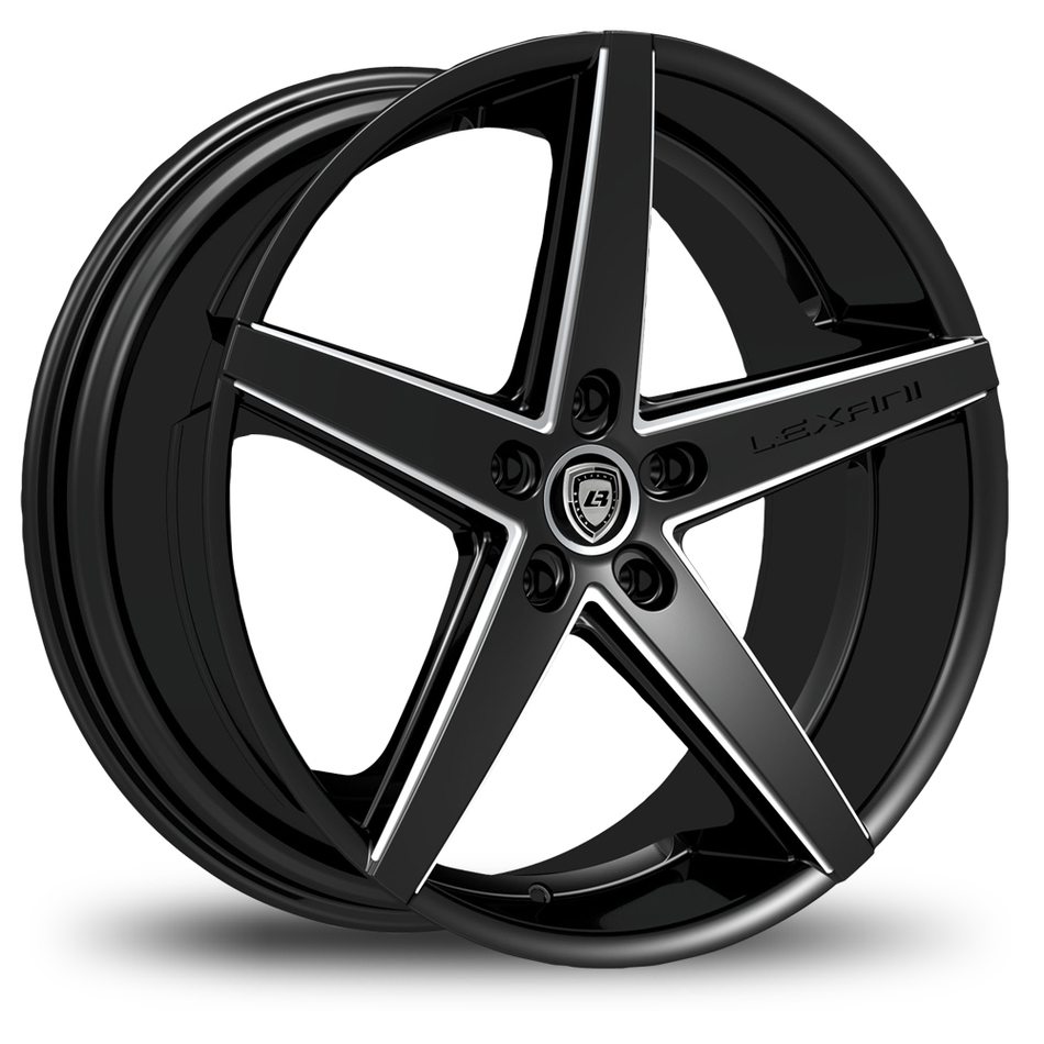 Lexani R-Four Satin Black and Machined Accents Exposed Lugs Wheels