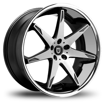 Lexani R-Fourteen Gloss Black and Machined Face Stainless Steel Lip Wheels
