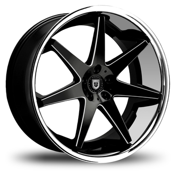 Lexani R-Seventeen Gloss Black with CNC Windows and Stainless Steel Lip Finish Wheels