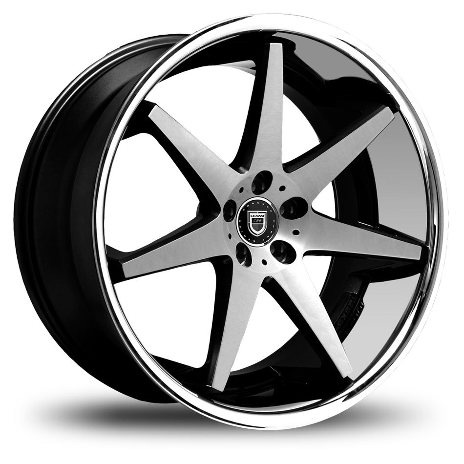 Lexani R-Seventeen Black and Machined Face with Stainless Steel Lip Finish Wheels