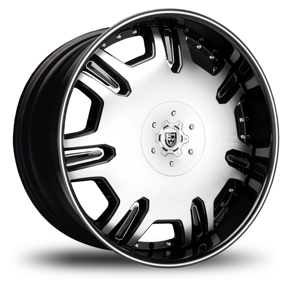 Lexani Radiant Gloss Black and Machined Face Black Lip Wheels