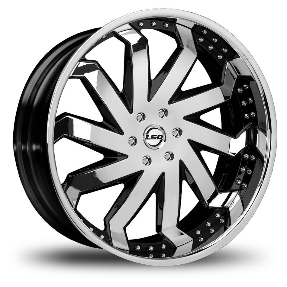 Lexani Rain Chrome and Black Finish Wheels