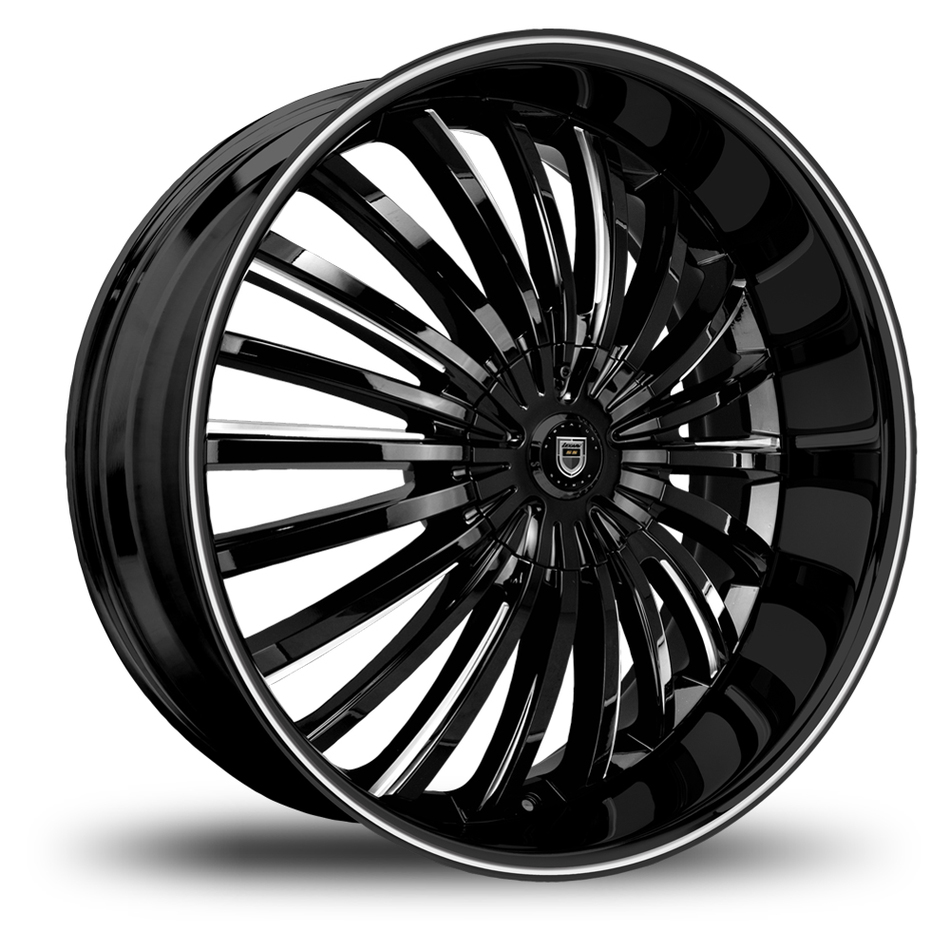 Lexani Royal Gloss Black and Machined Face with Black Lip Wheels