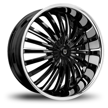 Lexani Royal Gloss Black and Machined Face with Stainless Steel Lip Wheels