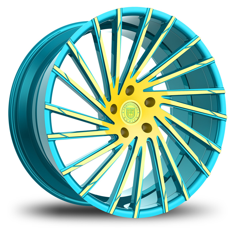 Lexani Wraith Custom Blue and Yellow Finish Wheels