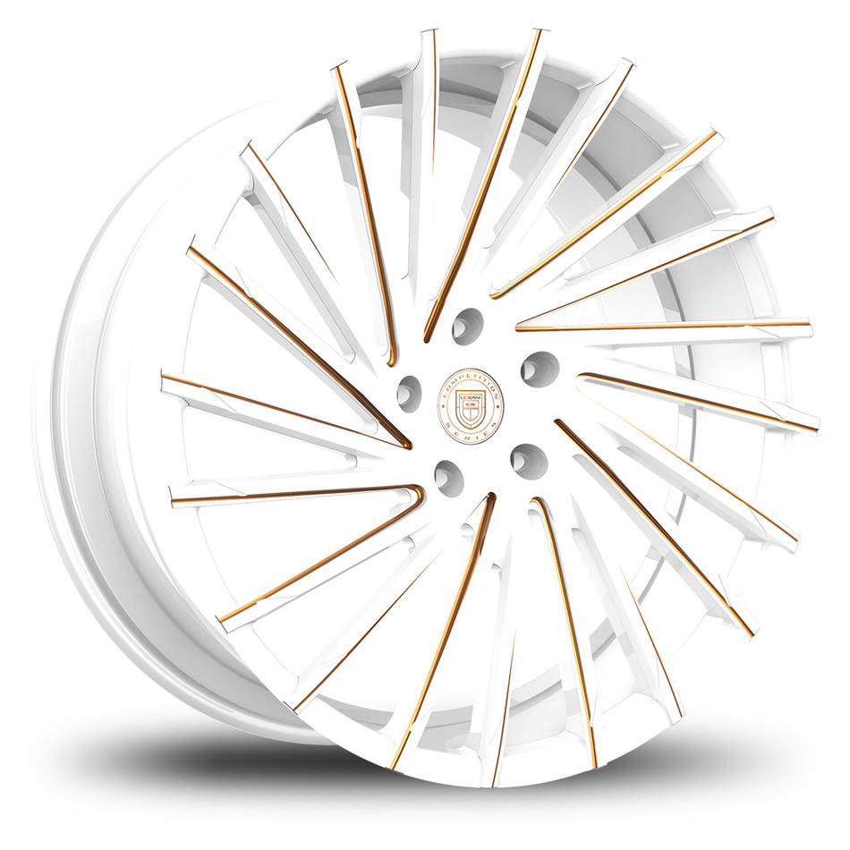 Lexani Wraith Custom White and Gold Finish Wheels