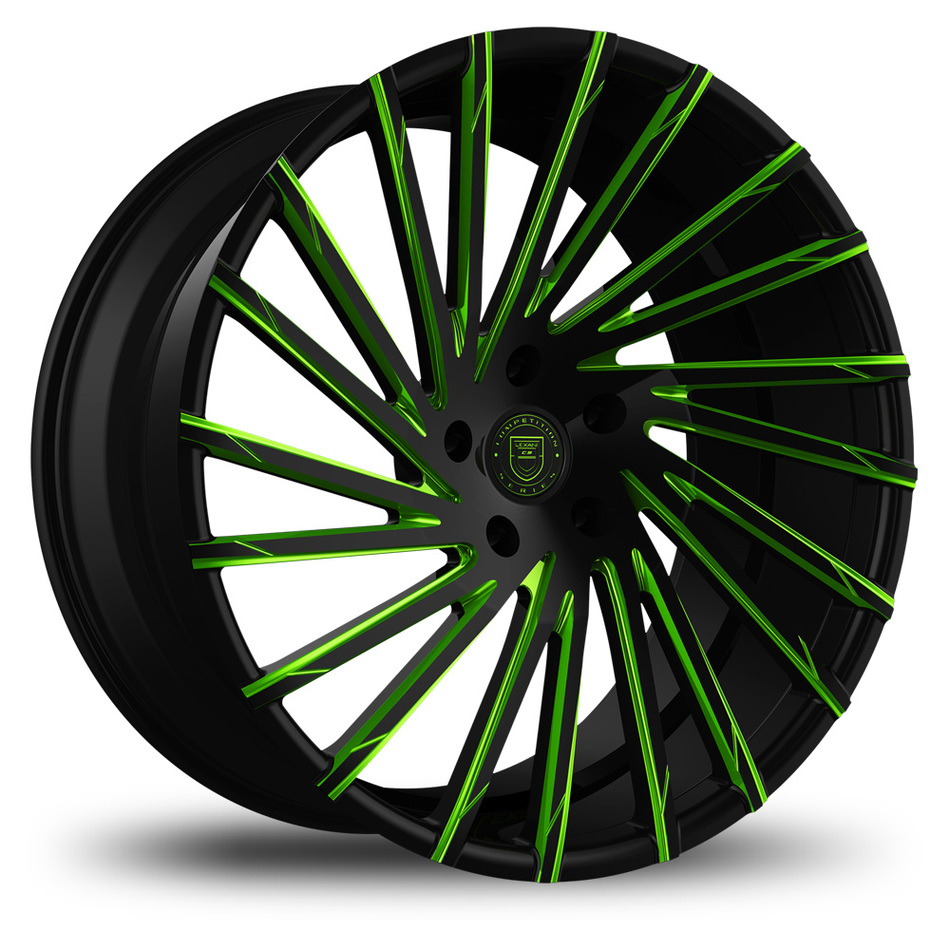 Lexani Wraith Custom Black and Green Finish Wheels