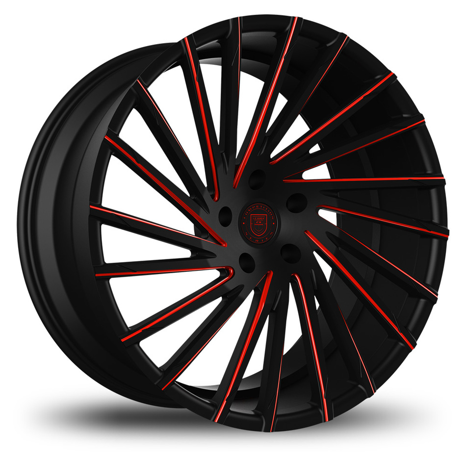 Lexani Wraith Custom Black and Red Finish Wheels