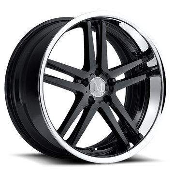Mandrus Simplex Wheels - Gloss Black with Chrome Stainless Lip Finish