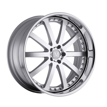 Mandrus Velo Silver with Mirror Cut Face and Chrome Lip Mercedes Wheels - Standard