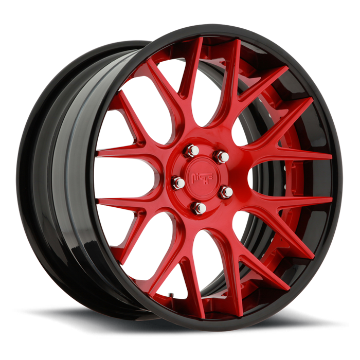 Niche Circuit - A300 Brushed Lollipop Red and Black Wheels - 3 Piece Forged