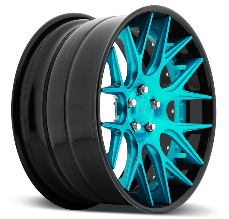 Niche Circuit - A300 Brushed Candy Teal and Black Wheels - 3 Piece Forged