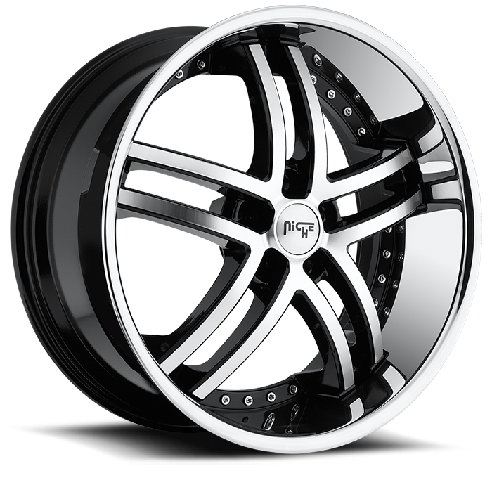 Niche Essence - M877 Black Machined Face Stainless Lip Wheels