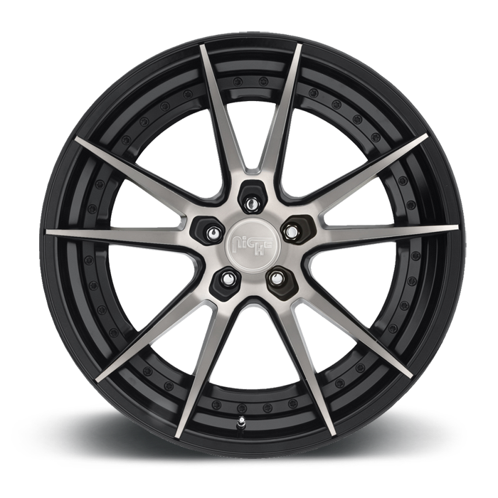 Grand Prix - M324 Black and Machined Double Dark Tint Center with Gloss Black Lip Wheels