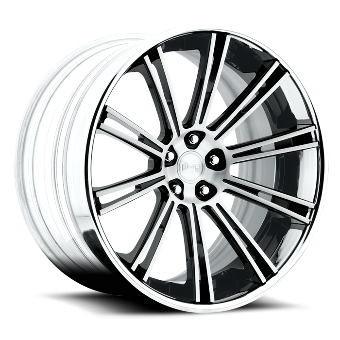 Niche Laguna - A430 Gloss Black Brushed Face Chrome Lip Wheels - 3 Piece Forged