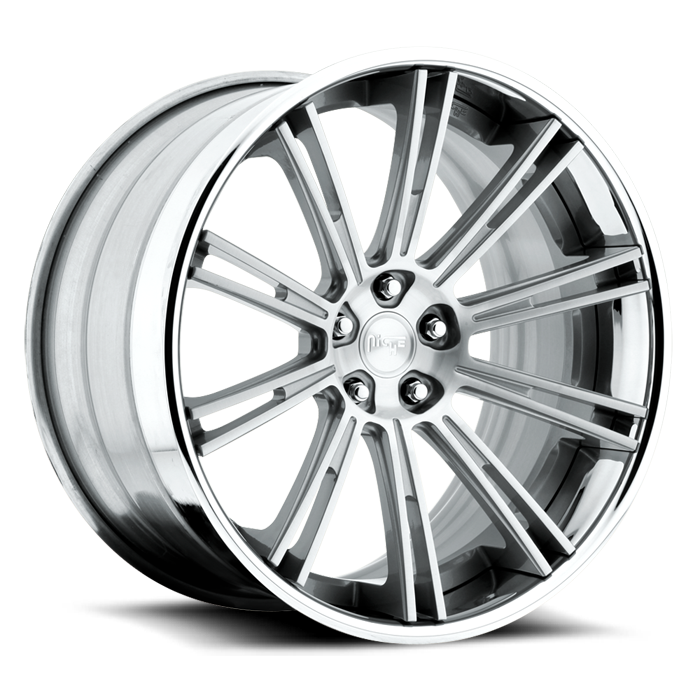 Niche Laguna - A430 Gloss Silver Brushed Face Chrome Lip Wheels - 3 Piece Forged