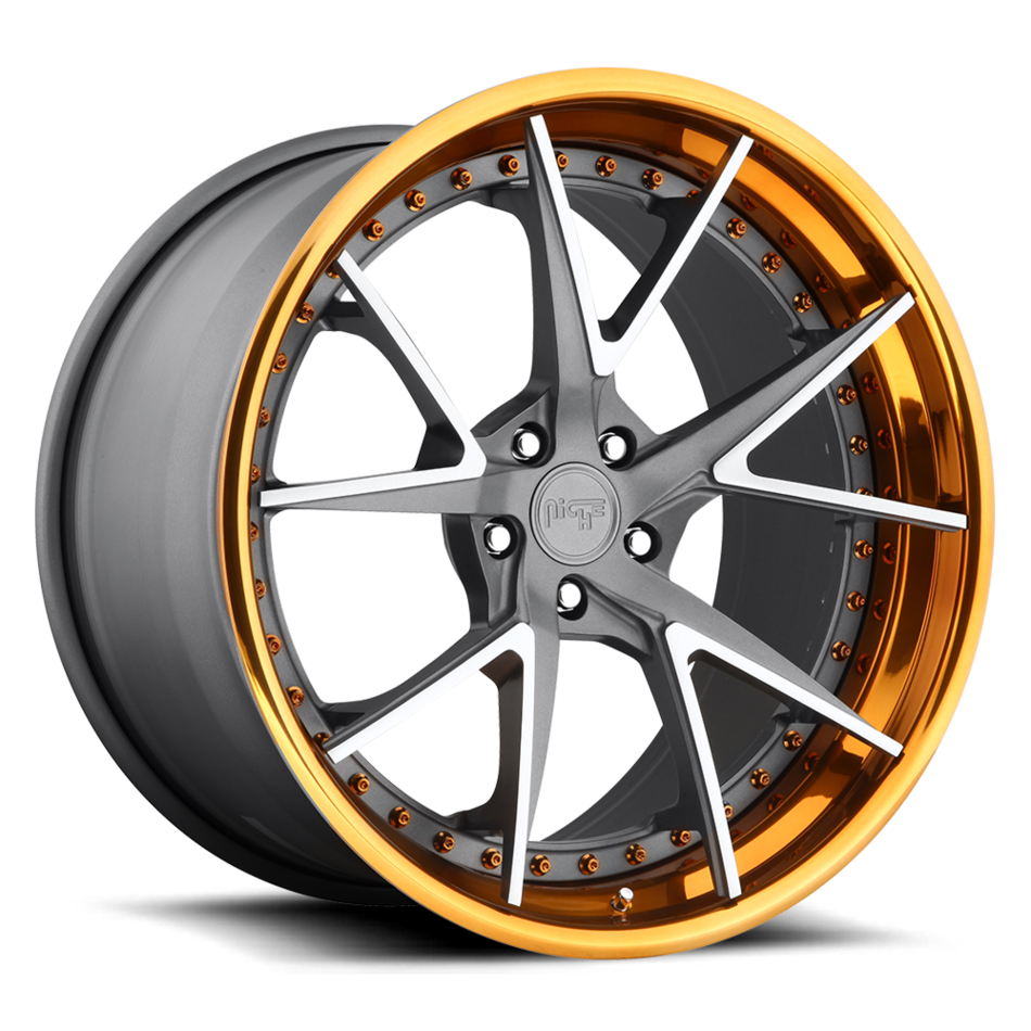 Niche Ibiza - 980 Forged Textured Gunmetal and Brushed Center with Copper Lip Finish Wheels