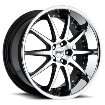 Niche Concourse - M886 Black Machined Face Stainless Steel Lip Wheels