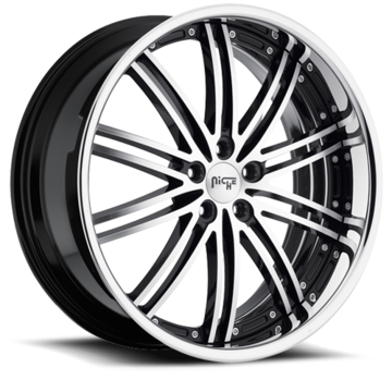 Niche Touring - M878 Black Machined Face Chrome Stainless Lip Wheels