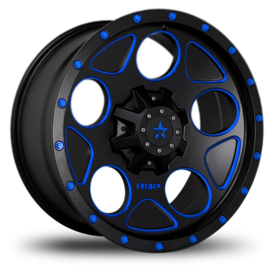 RBP 85R Voltage Black and Machined with Blue Bolts Offroad Wheels