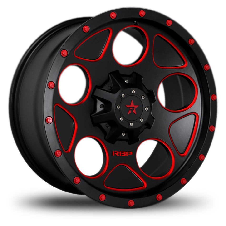 RBP 85R Voltage Black and Machined with Red Bolts Offroad Wheels