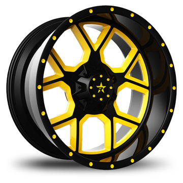 RBP AR-15 Monoblock Custom Black and Yellow Finish Wheels