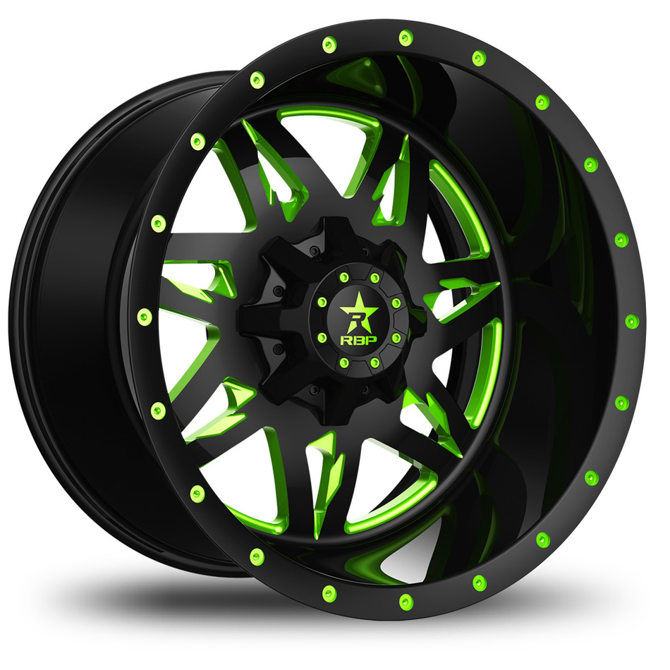 RBP Avenger Monoblock Custom Black and Green Finish Wheels