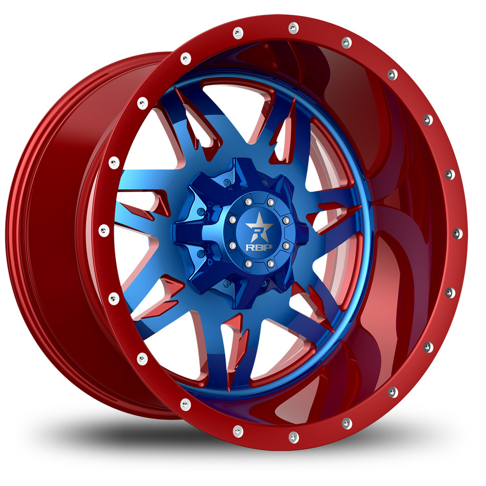 RBP Avenger Monoblock Custom Red and Blue Finish Wheels