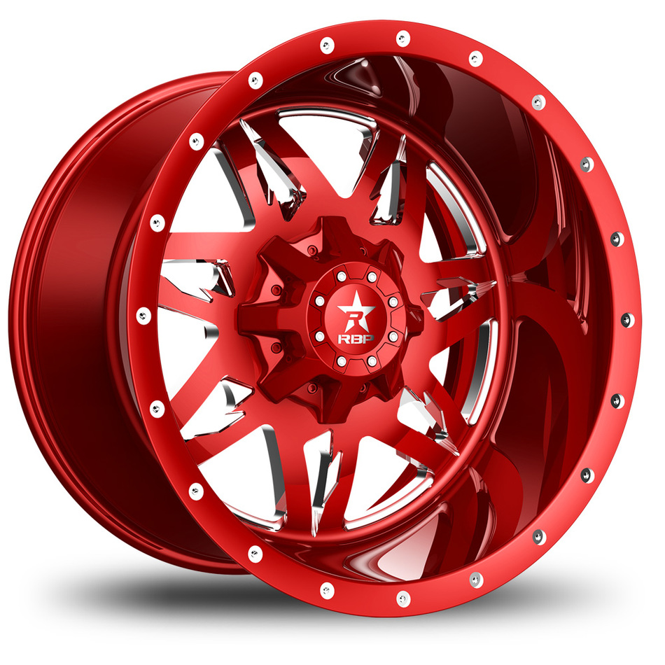 RBP Avenger Monoblock Custom Red and Chrome Finish Wheels