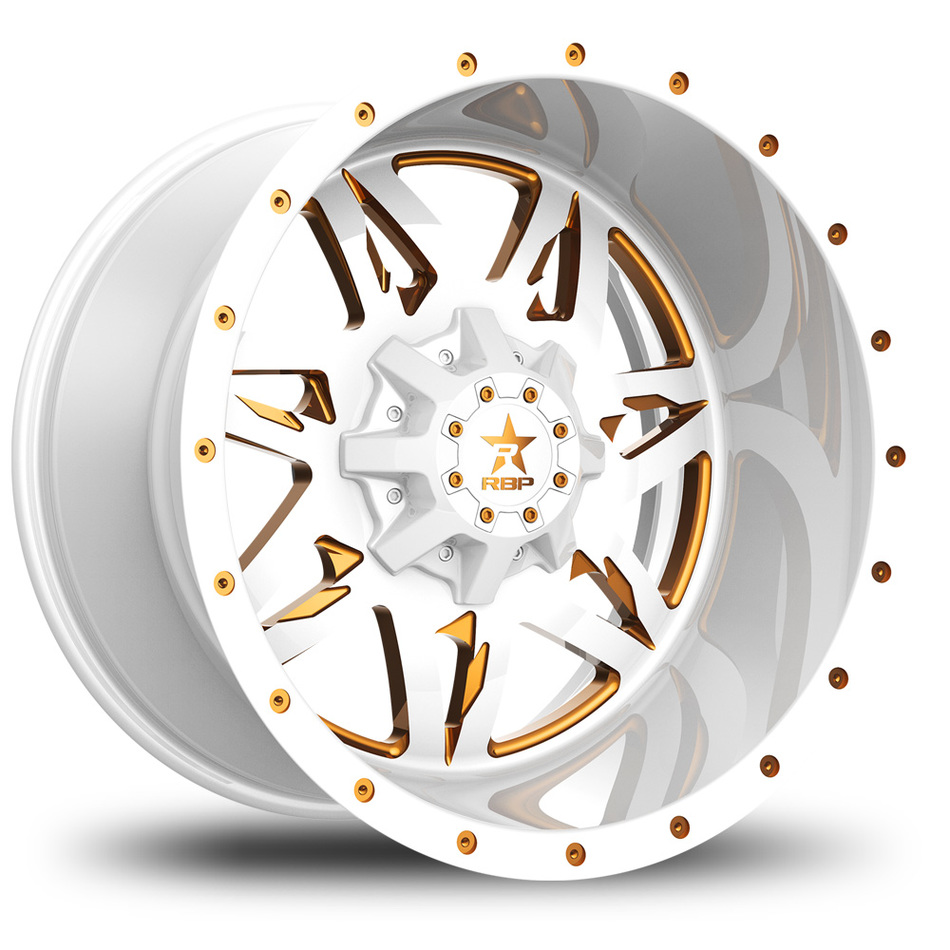 RBP Avenger Monoblock Custom White and Gold Finish Wheels