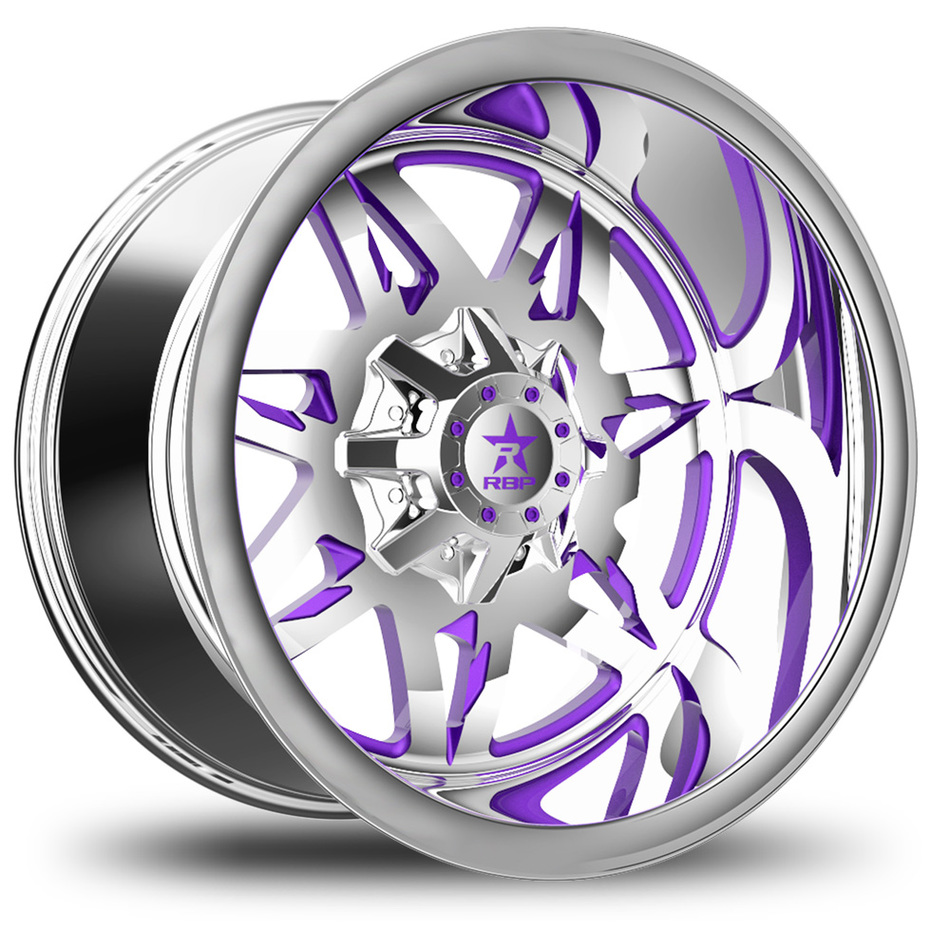 RBP Avenger Monoblock Custom Chrome and Purple Finish Wheels