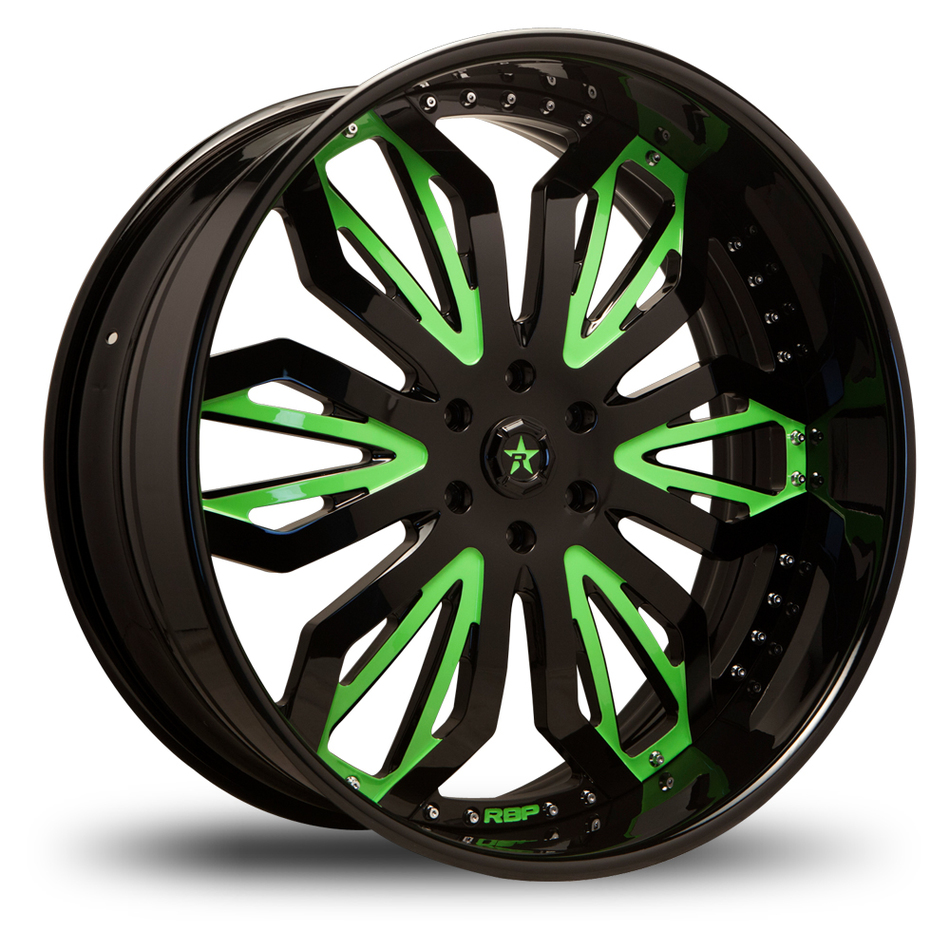 RBP DNA 3 Piece Custom Black and Green Finish Offroad Wheels