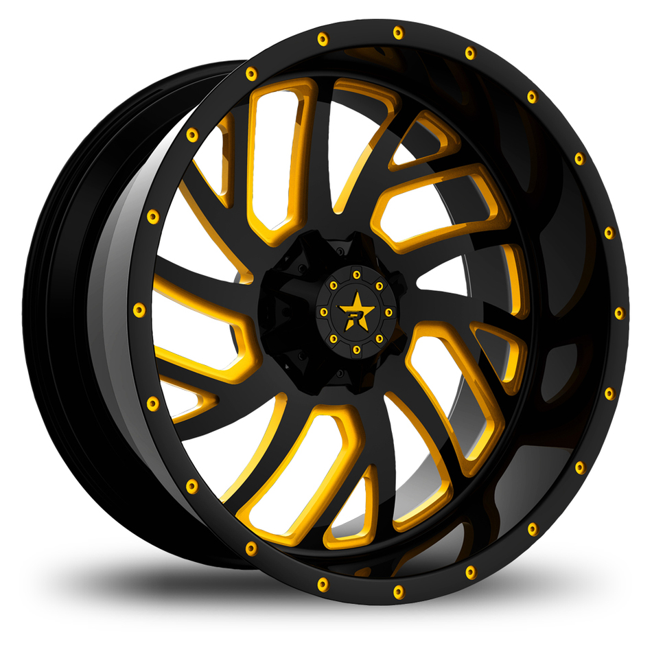 RBP Glock Monoblock Custom Black and Yellow Finish Wheels