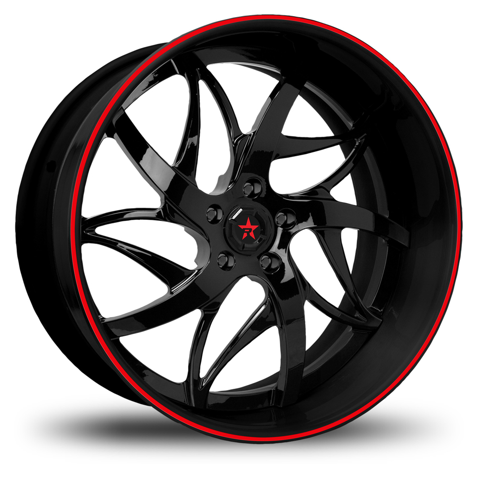 RBP Immortal 3 Piece Custom Gloss Black with Red Pinstripe Wheels